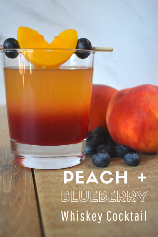 Peach + Blueberry whiskey cocktail recipe Pinterest