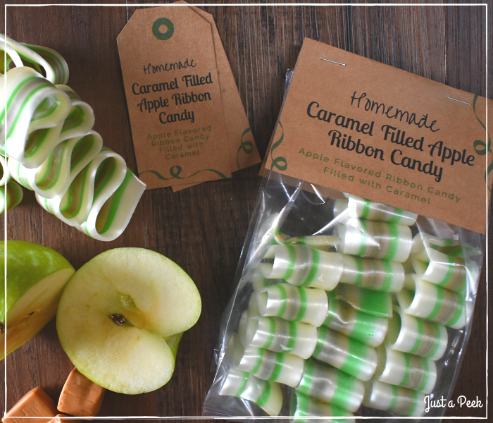 Caramel Filled Apple Ribbon Candy Recipe Packaging and Labels