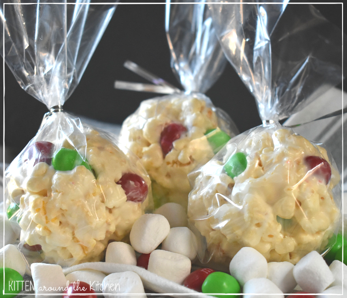 marshmallow popcorn balls holiday Christmas treats goodies gift food candy